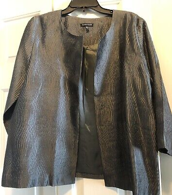 Eileen Fisher Jacket, Size Large, Silk, Color Grey, Lined, 3/4 Sleeves, Pre