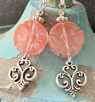 Etched Silver Fleur De Lis and Carved Cherry Quartz Flower Earrings. Bloom. Cherry Quartz Flower Earrings