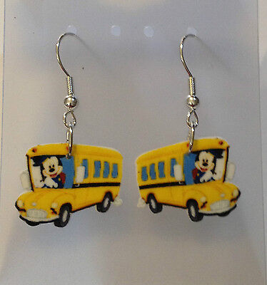 Mickey Mouse Earrings School Bus Charms