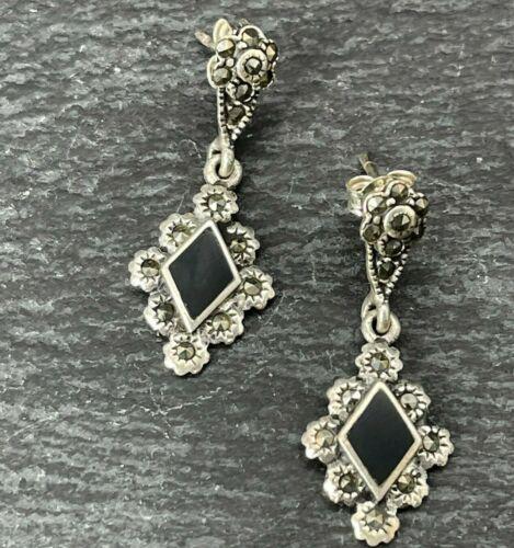 Vintage 925 Sterling Silver Drop Dangle Earrings Onyx Inlay Marcasite