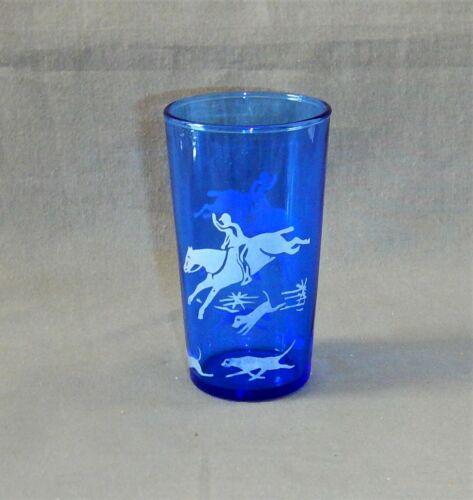 Fox Hunt Scene Juice Glass - Superb Example - Authentic - Cobalt & White