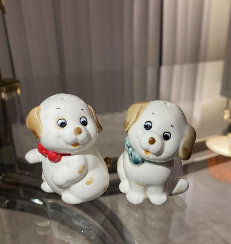 vintage puppys salt and pepper made in korea