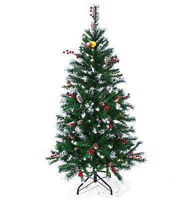Albero di Natale con Bacche Pigne e Punte Innevate effetto reale Canada 150 cm