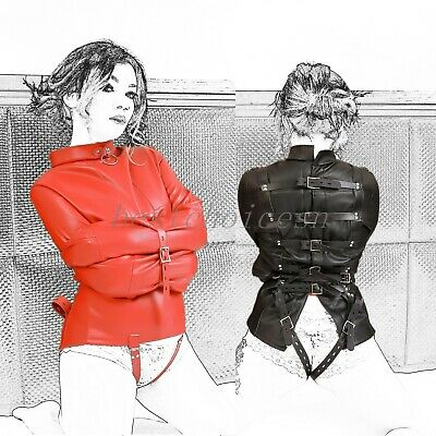 BDSM New Straight Jacket Costume Women Leather Body Harness Restraint Armbinder