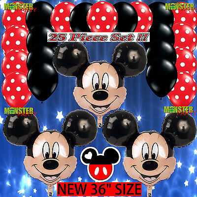 25 Bundle Mickey Mouse Birthday Party Balloons Balloon Minnie Red Decoration boy