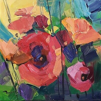 JOSE TRUJILLO Oil Painting 12X12 BRIGHT PINK FLOWERS FLORAL IMPRESSIONIST ART Impressionistic Oil Painting