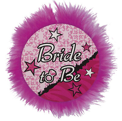 Bachlorette Bride to Be Button Pin Pink Feathers Party Favor Party Supplies - Bachlorette Favors