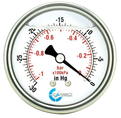 """2-1/2"""" Pressure Gauge, ALL STAINLESS STEEL, Liquid Filled, Back Mnt, -30 inHg/0"""