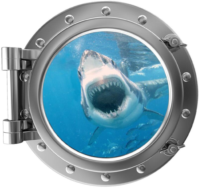 """12"""" PortScape Instant Sea Window Great White Shark Attack 1 Porthole Wall Decal"""