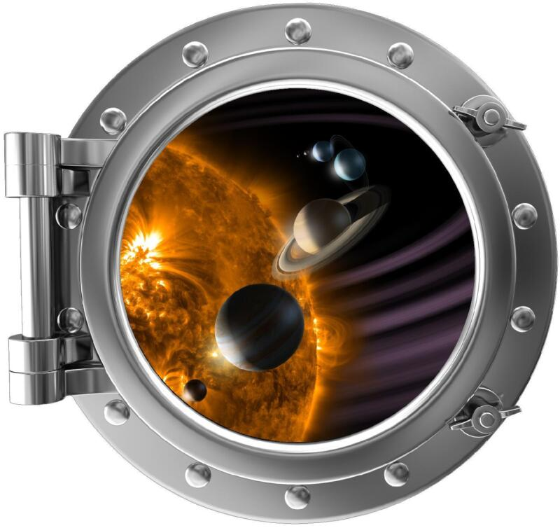 "12"" PortScape Instant Space Window Solar System #1 Wall Decal Porthole Graphic"
