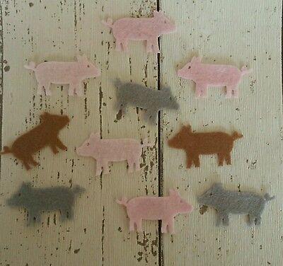 Felt Pigs, die cut felt, die cut pigs, felt embellishment, felt supplies, farm