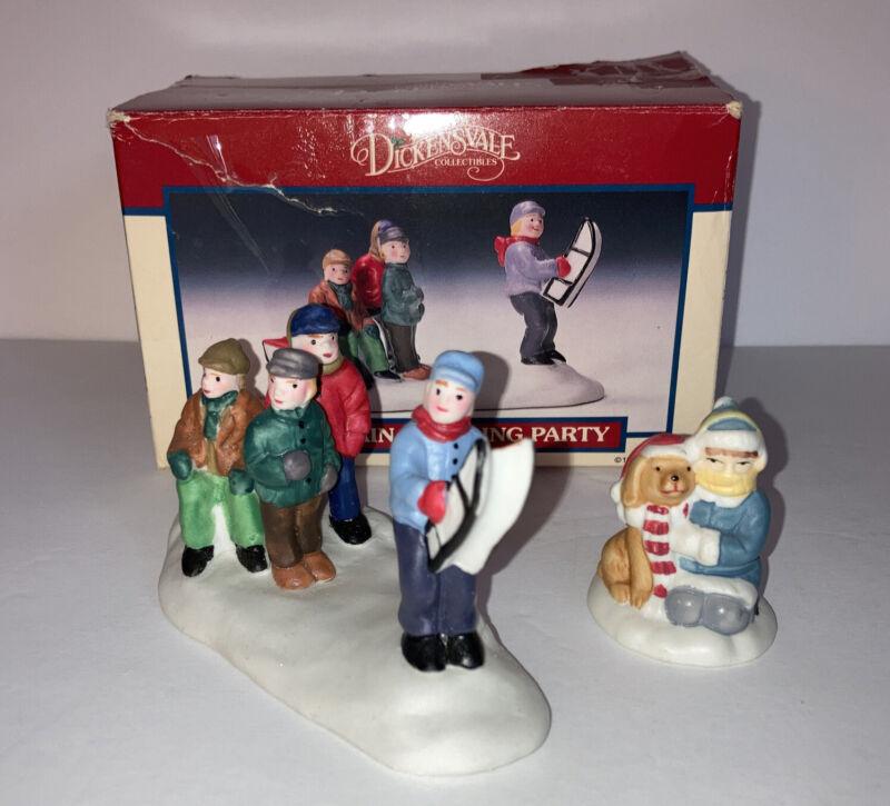Lemax Vintage 1992 Dickensvale Collectibles Porcelain Sledding Party/Bonus Item