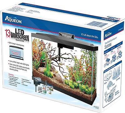 NEW Aqueon LED Wide Screen Aquarium Kit Black 13 Gallon