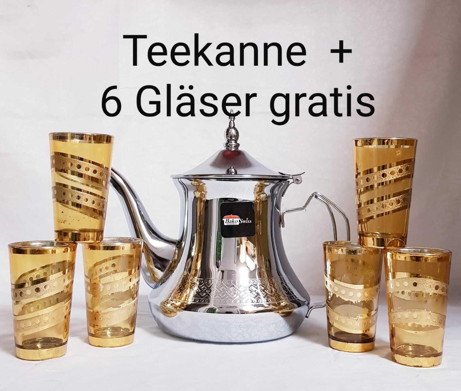 Marokkanische Teekanne 1,2 L + 6 Gläser Gratis Marrakesch Minztee Tee Kanne