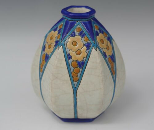 EMAUX DE LONGWY FRANCE FAIENCE MAJOLICA VASE CRACKLE GLAZE ANTIQUE 1890-1930