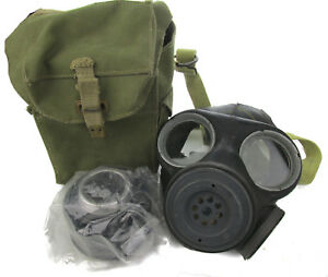 British MK2 Gas Mask with Filter and Bag - Vintage Military Surplus Gas Mask