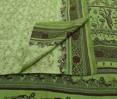Vintage Mint Saree Floral Printed Pure Silk Craft Deco Fabric 5YD. -PS58247