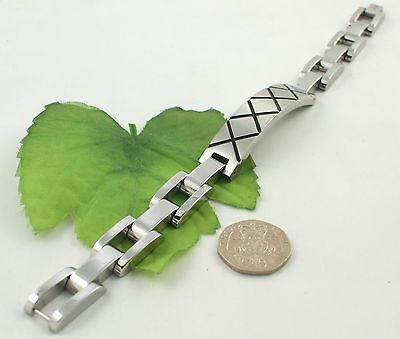 Gatik AB1536 Gents Stainless Steel Black Criss Cross Design Bracelet