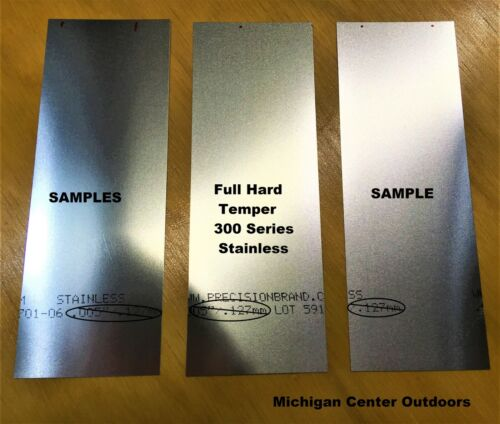 ".010"" Stainless Steel Shim Stock - 3 Pak 2"" x 6""  Handy Size for Projects - USA"