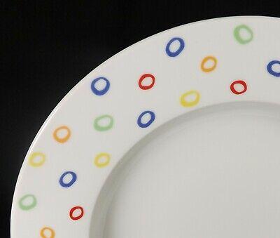 """Kahla Germany Set of 6 Rim Soup Bowls 9 1/8"""" Multi Color Spots Dots Circles"""