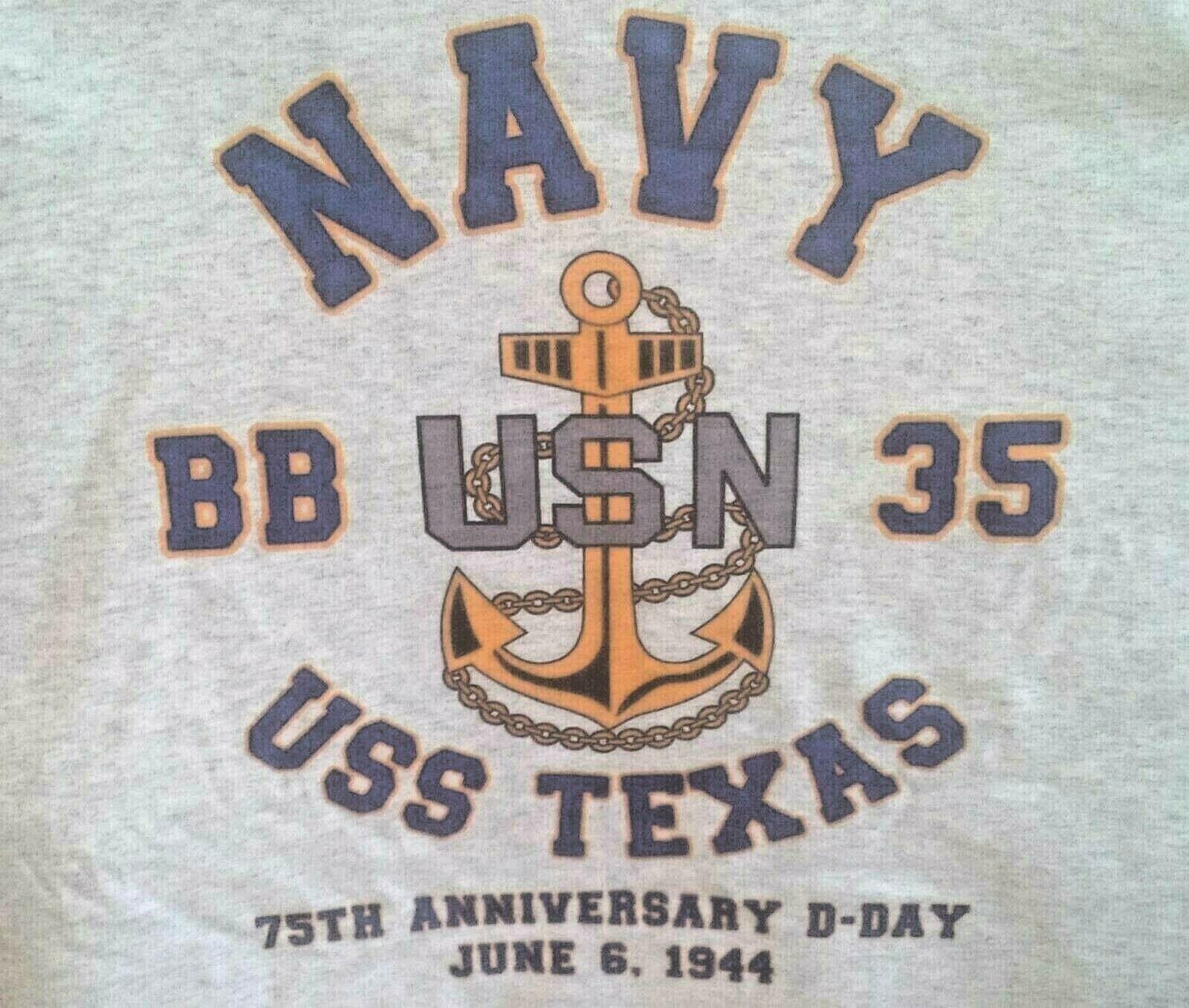 USS NEVADA  BB-36 NORMANDY 1944 WW II VINYL /&SILKSCREEN NAVY ANCHOR SHIRT.