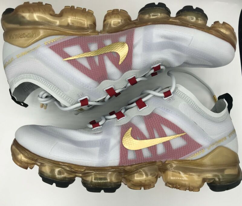 huge discount 6cff2 32e27 Details about NIKE AIR VaporMax 2019 CNY Pure Platinum Metallic Gold Gym  Red, Size US 11