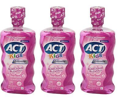 ACT Kids Anticavity Fluoride Rinse, Bubblegum Blowout, 16.9