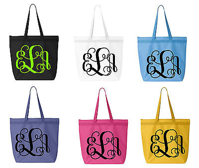 Large Monogrammed Canvas Tote Bag - CUSTOM MONOGRAMMED VINE INITIALS PERSONALIZE](Initial Tote Bags)