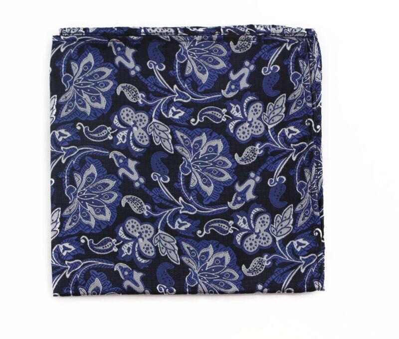 Mens Black, Navy & Silver Floral Silk Pocket Square