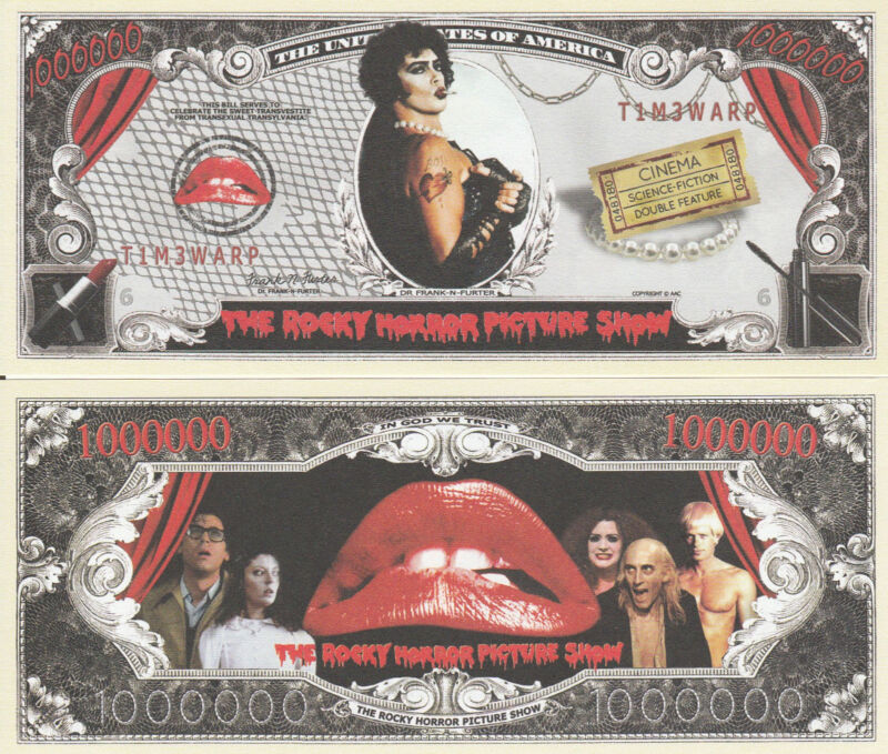 Rocky Horror Picture Show Million Dollar Funny Money Novelty Note + FREE SLEEVE