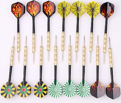 15 pcs of Steel Tips Darts Needle Point With Nice Dart Flights Indoor Games US