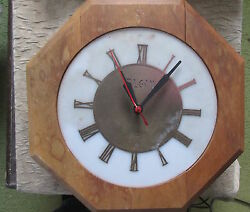 Old Vintage Art Deco Elgin Wood Metal & Plastic Wall Clock