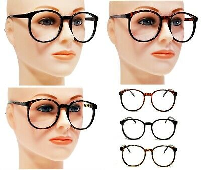 NWT Vintage Large Round Clear Lens Glasses Fashion Men Women Retro (Large Round Glasses Frames)