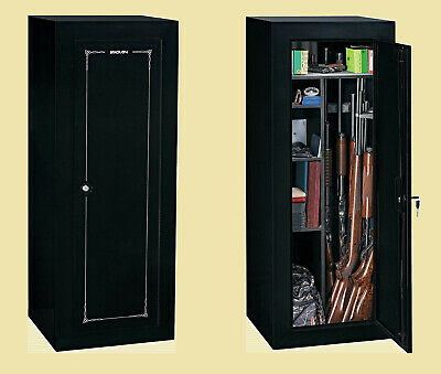 FIREARM STORAGE CABINET 18 Gun Security Rifle Shotgun Rack Steel Black Safe New