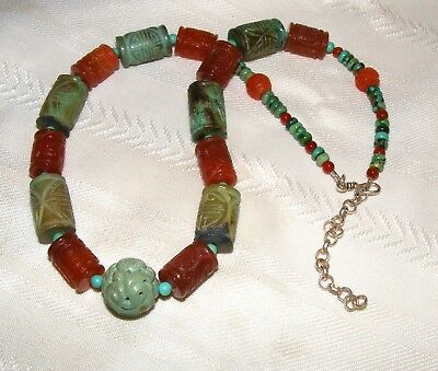 Huge Chinese Turquoise and Carnelian Shou Longevity Bead Statement Necklace