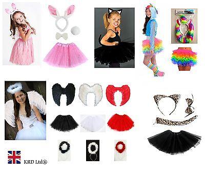 Kids Angel Fairy Feather Wings Halo Fancy Dress Tutu Costume Cat Leopard - Angel Cat Kostüm