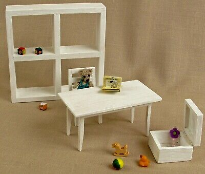 Playroom white Set for dolls toys for dolls house wooden Furniture Barbie chair