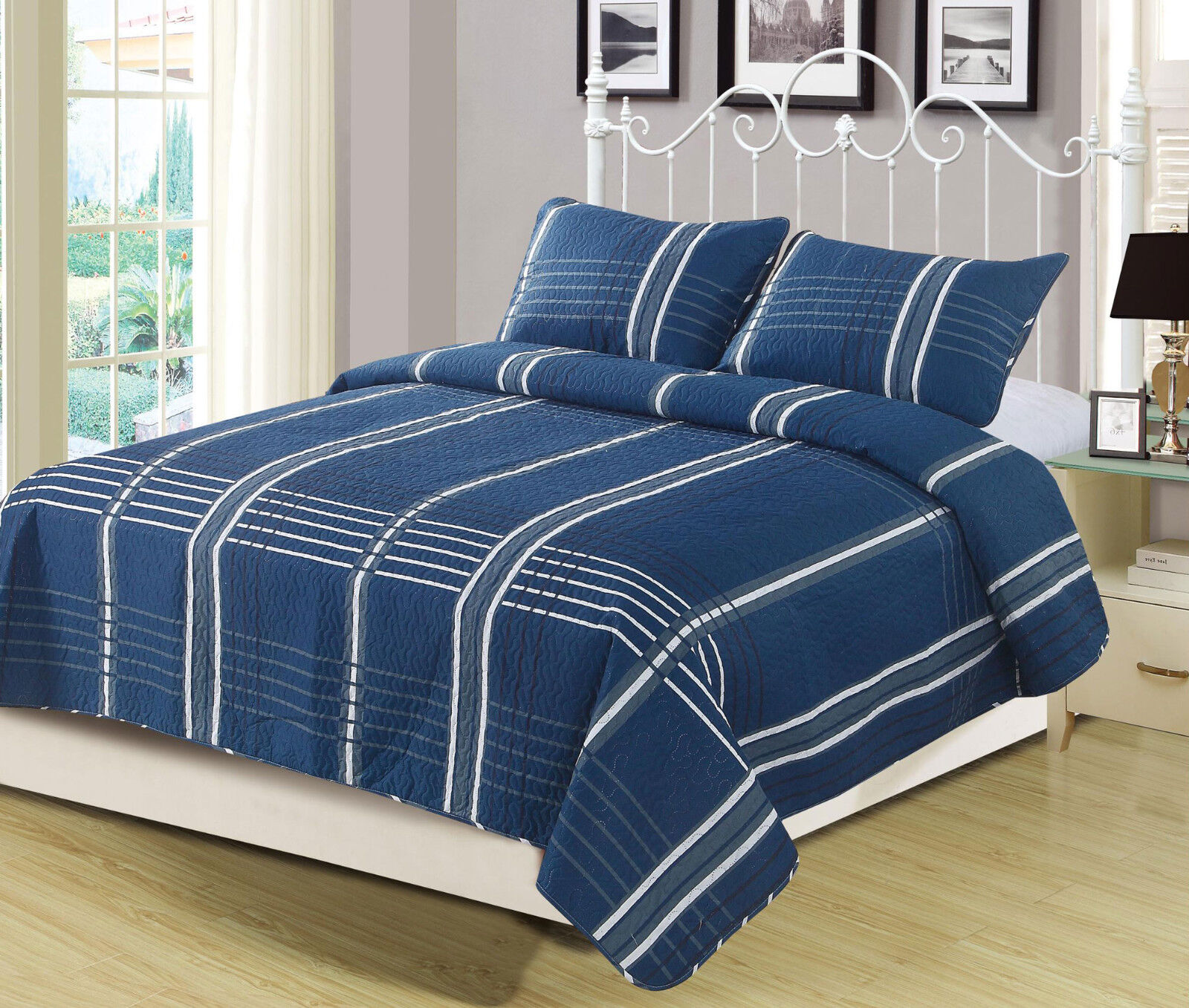 Queen or King Navy Stripe Plaid Checkered Quilt Bedding Set Blue Grey and White Bedding