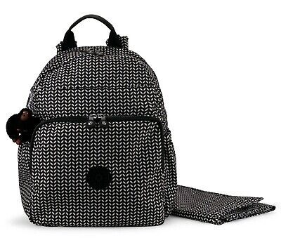 KIPLING MAISIE Diaper Bag Backpack with Changing Pad Black Leaf NEW
