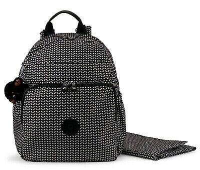 KIPLING MAISIE Diaper Bag Backpack with Changing Pad Black Leaf NEW