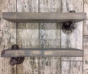 2 x Rustic Grey Washed Wood Shelves on Iron Pipe Brackets