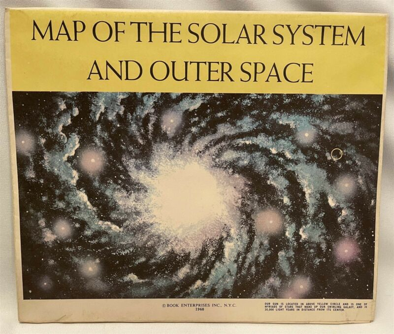 """Vintage 1960 Fold Up Map of the Solar System & Outer Space 48"""" x 35"""" Zodiac"""