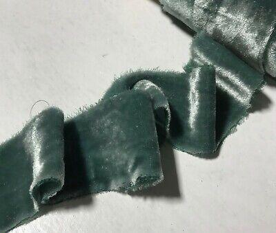 Hand Dyed Gray Green Silk Velvet Ribbon ( 4 Widths to choose -