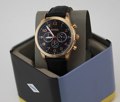 NEW AUTHENTIC FOSSIL PILOT 54 CHRONOGRAPH ROSE GOLD BLACK ME