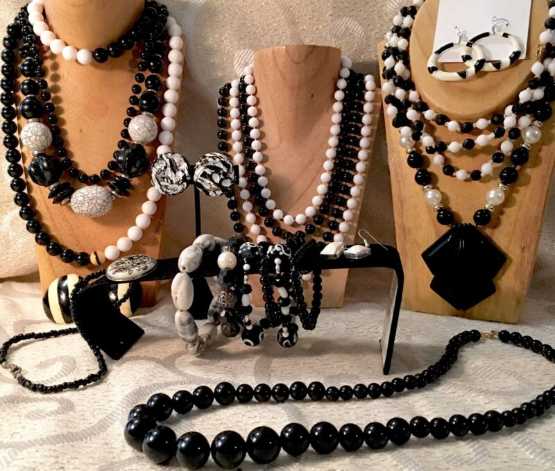 BLACK & WHITE Mixed Jewelry Lot-Necklaces-Earrings-Bracelets-Vintage-Now  a11