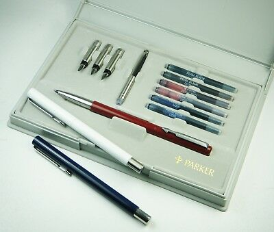 Vintage PARKER VECTOR Fountain Pen Set of 3, Rollerball Pens: Red, White, & Blue