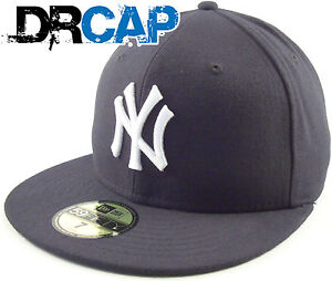 NEW YORK NY YANKEES NEW ERA CAPS - 59FIFTY FITTED FLAT PEAK BASEBALL CAPS & HATS