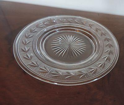 Antique Cut Lead Crystal Glass Plate Bell Flower Star Edwardian 1900 Brilliant