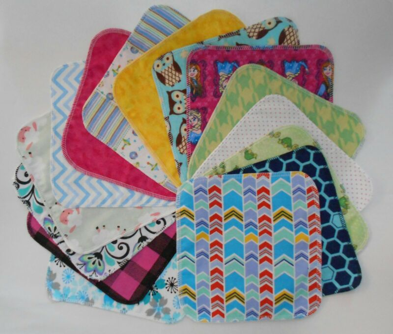 Assorted 5 Cloth Wipes Tissues Baby Flannel 1 Ply Family Cloth Reusable Random