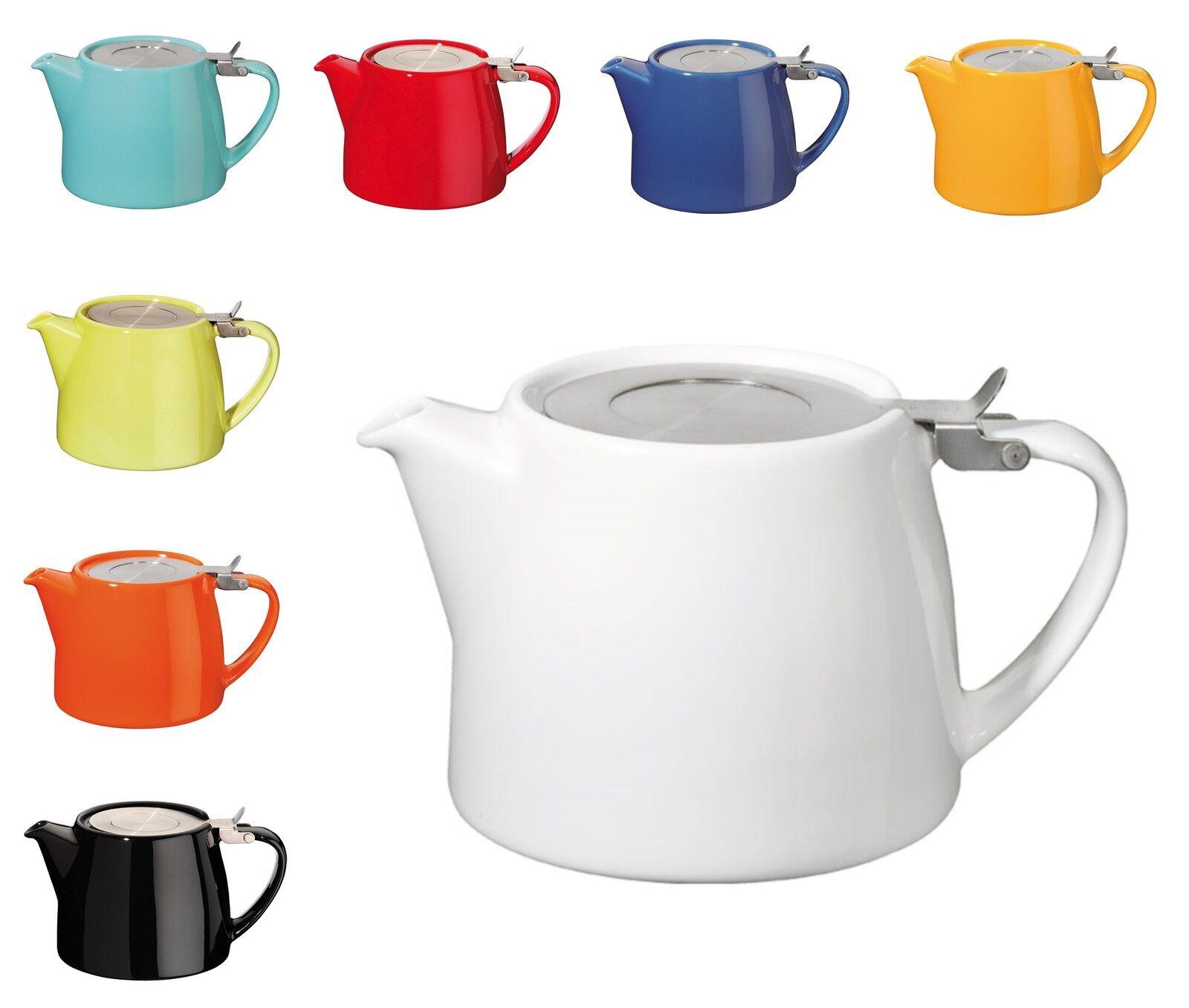 Forlife Stump Stainless Steel Filter Infuser Ceramic Teapot
